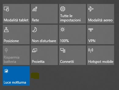 Attivare Luce notturna Windows 10