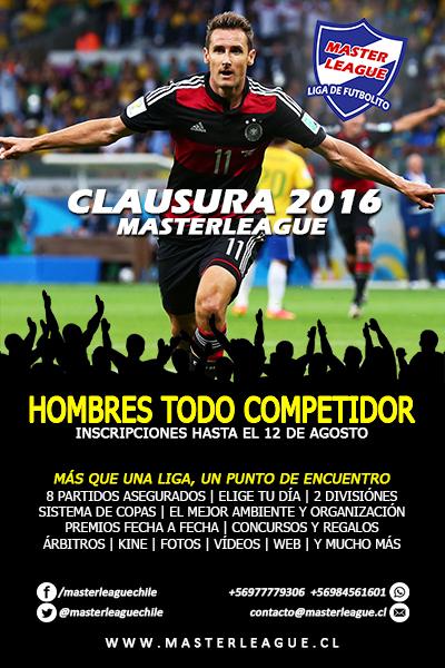 FLYER HOMBRES CLAUSURA 2016 MASTER LEAGUE