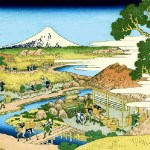 Japanese woodblock print, The Tea plantation of Katakura in Suruga Province