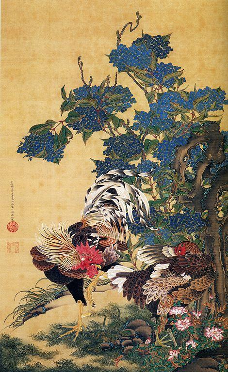 Rooster and Hydrangeas Ito Jakuchu