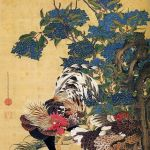 Rooster and Hen with Hydrangeas by Ito Jakuchu