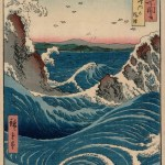 Utagawa Hiroshige's whirlpool artwork ukiyo-e woodblock print