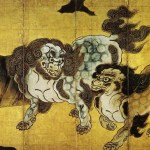 The Folding Screen Painting of Chinese Lions  by Kano Eitoku