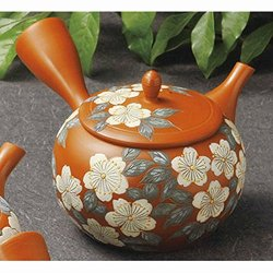 Tokoname pottery red kyusu teapots with patterns