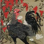 Nandina and Rooster by Itō Jakuchū