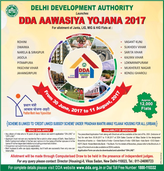 DDA Housing Scheme 2017 Advertisement for Awasiya Yojana