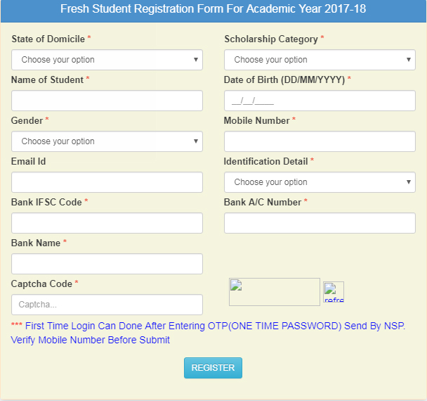 Pre Matric Scholarship Application Form  For Minority Students
