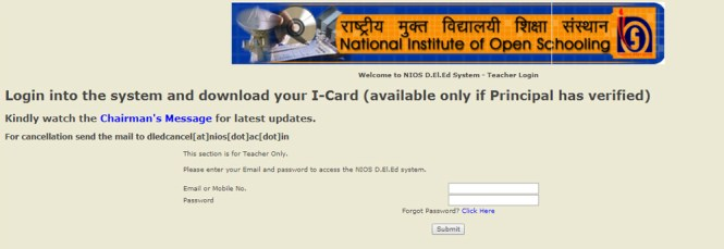 NIOS Teacher Login