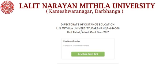 LNMU Hall Ticket Download 2017