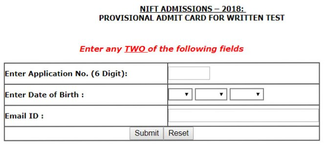 NIFT Admit Card 2018-Written Exam