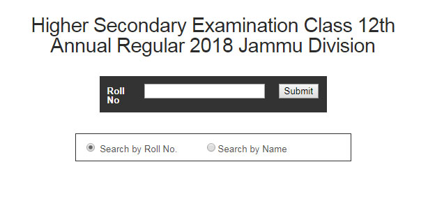 JKBOSE 12th Result 2018 Annual Regular Exam