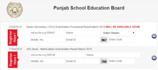 PSEB Class 12th Result 2018
