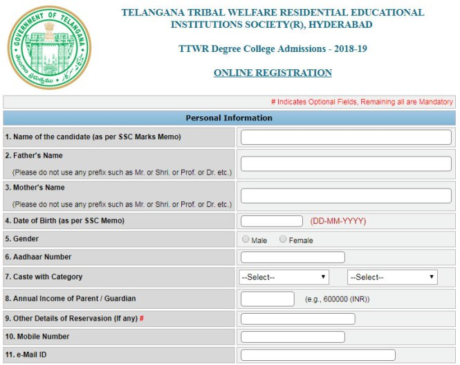TTWR Degree College Admission Form Online