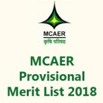 MCAER Provisional Merit List 2018