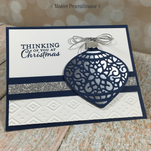 Embellished Ornaments in navy blue and silver by MasterProcraftinator.com