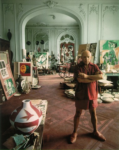 Pablo Picasso in his studio