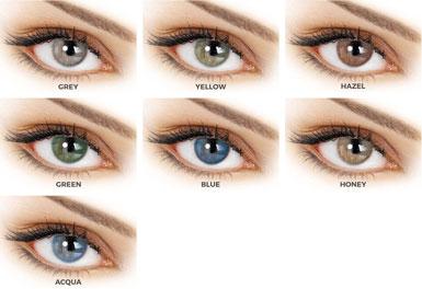 Οι Adore Bi-tone διατίθενται σε 7 χρωματισμούς: Aqua, Blue, Gray, Green, Hazel, Honey, Yellow.