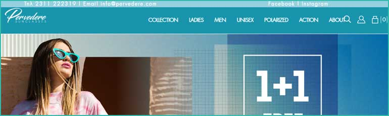 Το pervedere.com προσφέρει οικονομικά γυαλιά ηλίιου σε προσφορές 1+1