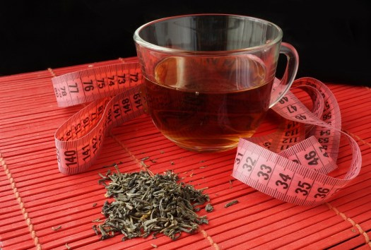 Cup of green tea for weight loss. Diet concept