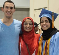 Courtesy of the New York Times: Deah with, from left, his wife, Yusor Mohammad Abu-Salha, and her sister Razan Mohammad Abu-Salha in a Facebook image.