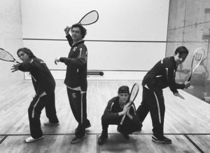 The Squash team in game ready positions