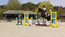 A Central Virginia Show Jumping Association show, hosted at the show grounds. Photograph by Abigail Winfree. Rider is Blake Vidunas.
