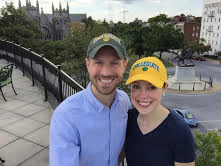 Baker and her husband, Scott Adams, donning their Collegiate hats. Photo courtesy of Sarah Baker