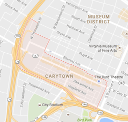 Overview Google map of Carytown.
