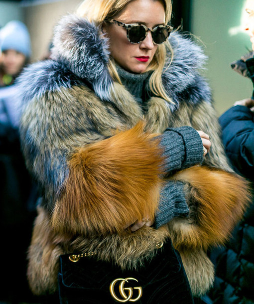 714d34408 Gucci Faux Fur Coat during NYC Fashion Week. Photo courtesy of  wheretoget.it.