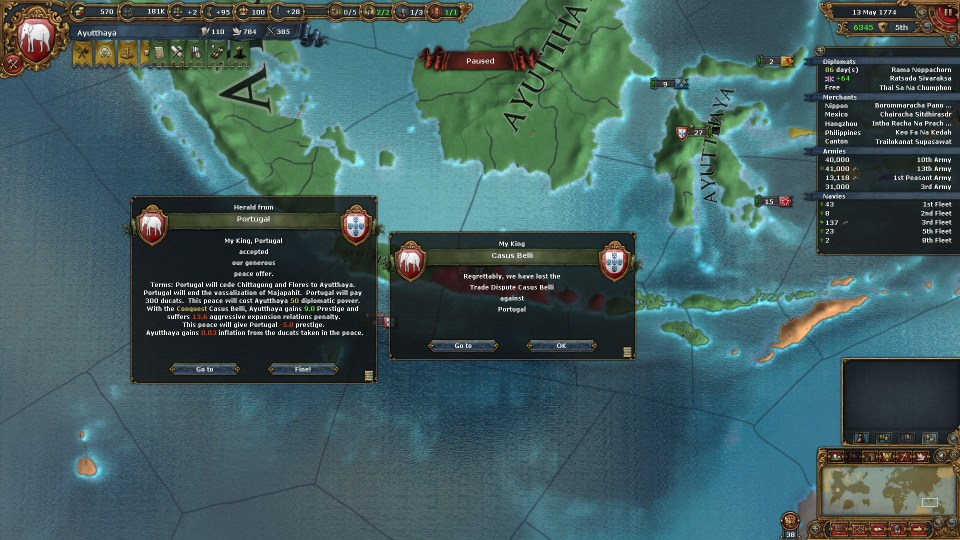 With this, I grabbed Portugal's last colonies in Asia.