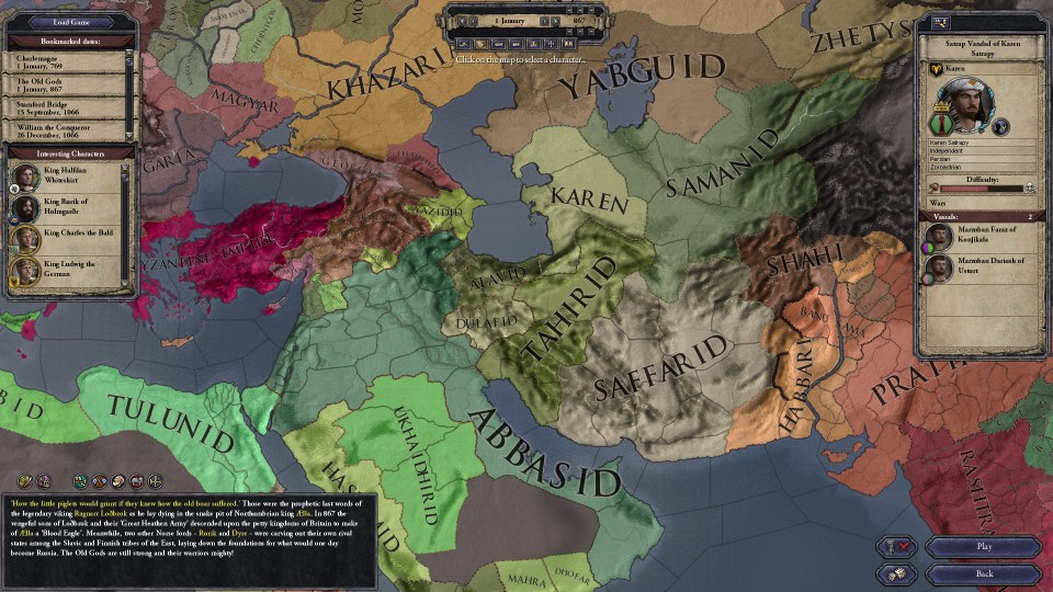 Vandad, the leader of House Karen, can muster an army of ~4,000-5,000 (including one-off starting troops). The Saffarids to the southeast start with around 15,000-20,000. After 150 years, the Abbasids to the southwest could muster even more!