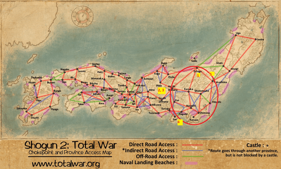 Shogun 2 access map - marked up