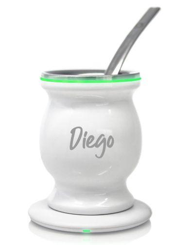 Mate Eléctrico Personalizado con Nombre Inductivo Led Blanco Brillante con Luz Verde y Bombilla Chata de Acero
