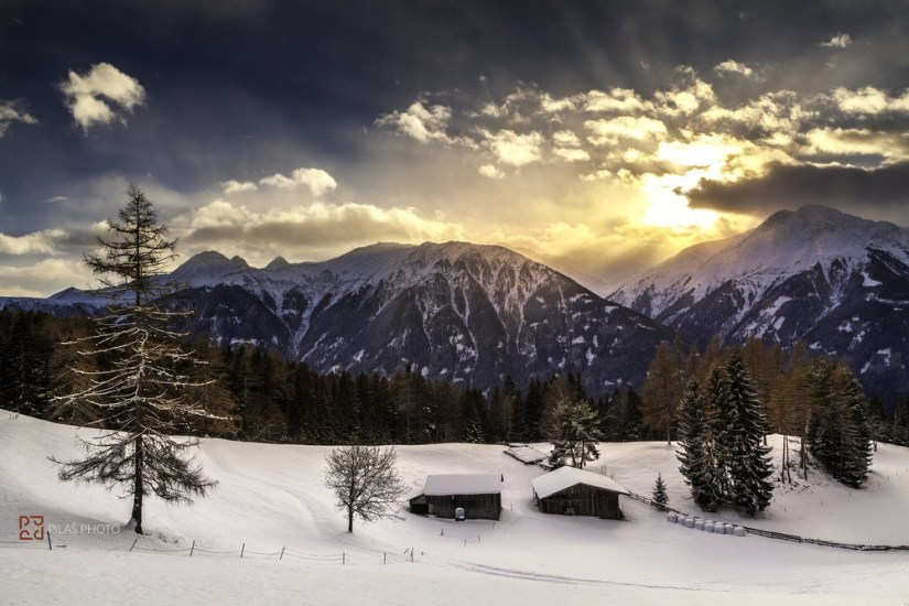 Mountain cottage in sunset, Pilas Photo