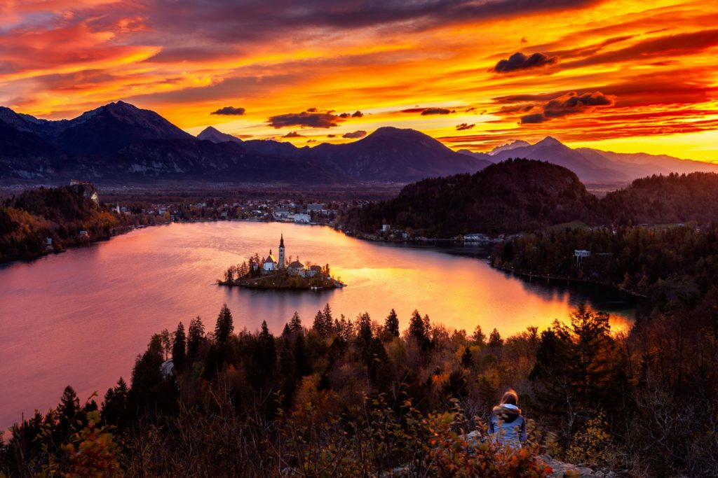Sunrise over Bled lake from Ojstrica hill