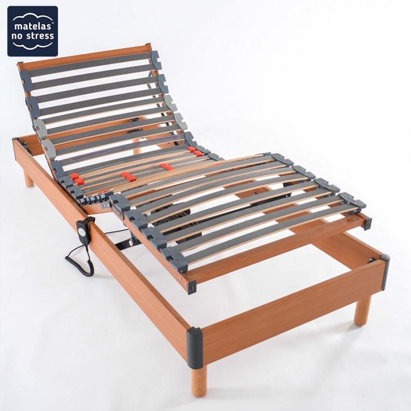 Sommiers 2x70x190 Relaxation Electrique Coloris Merisier Matelas No Stress