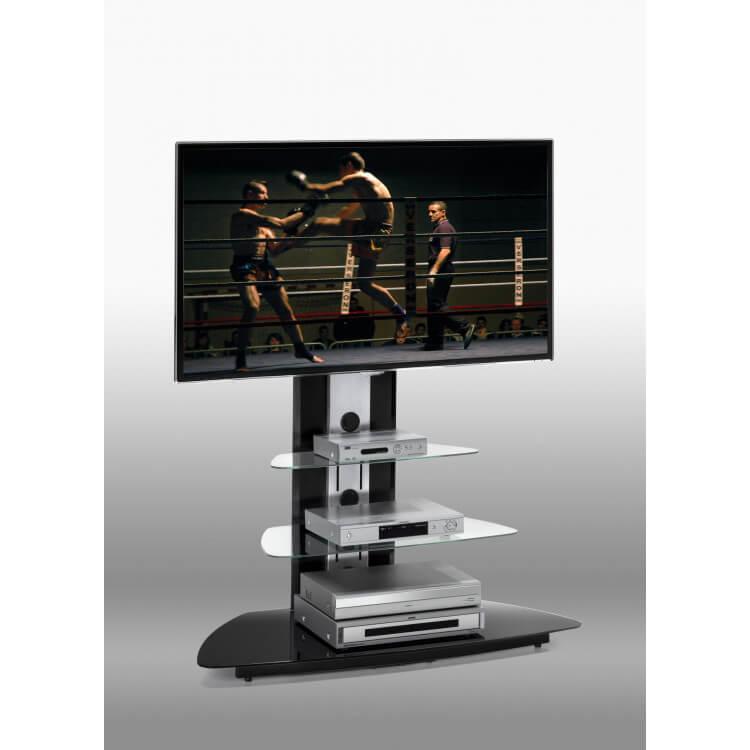 meuble tv design en verre noir abel