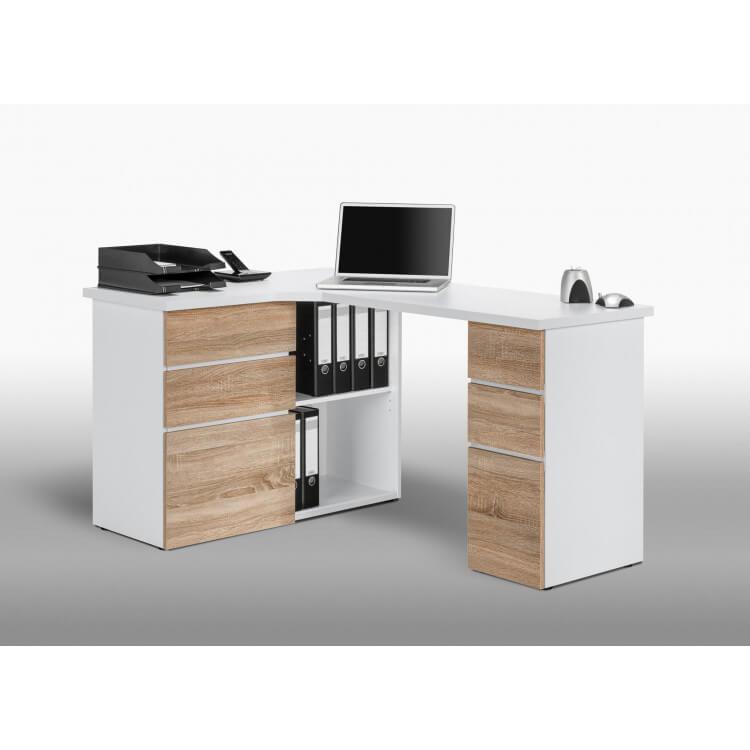 bureau informatique d angle contemporain avec rangement chene sonoma blanc nayade