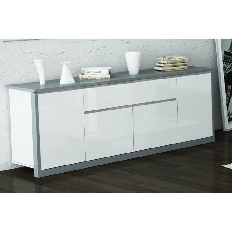 buffet bahut design 4 portes 1 tiroir laque blanc gris nytro