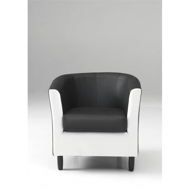 fauteuil cabriolet en pu coloris noir et blanc caurel