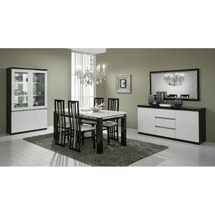salle a manger design laquee noire et blanche isabella