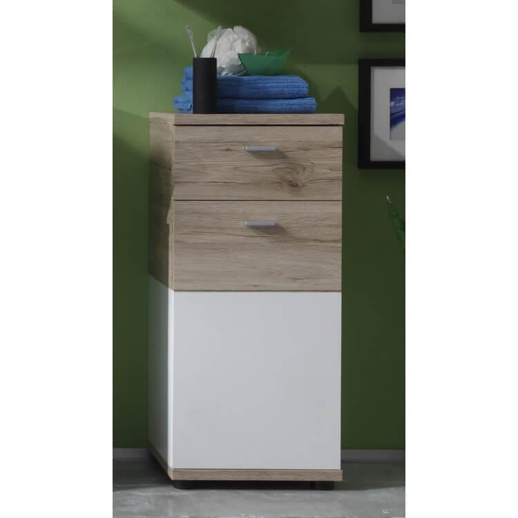 meuble bas de salle de bain contemporain 1 porte 1 tiroir chene clair blanc cambodge
