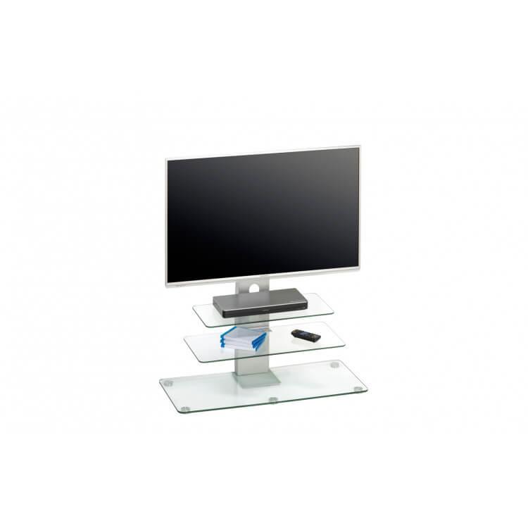 meuble tv design metal alu verre clair fogo