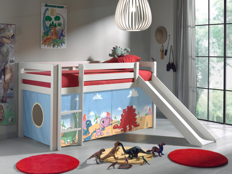 lit mezzanine enfant avec toboggan en pin massif blanc laque dinosaure matelpro