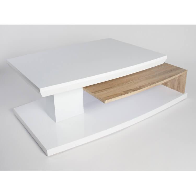 table basse design en bois blanc laque chene clair sulina