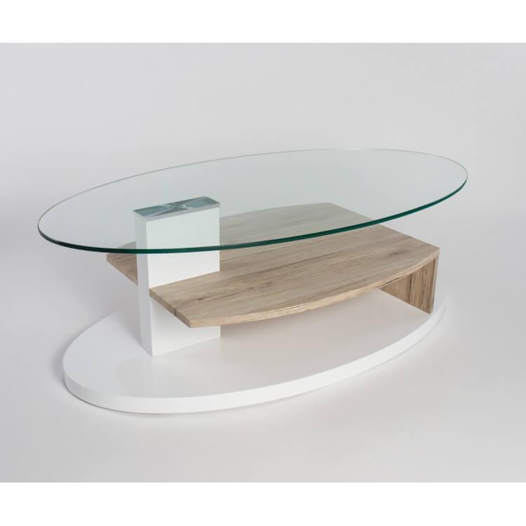 table basse design verre et bois blanc laque chene clair malorie