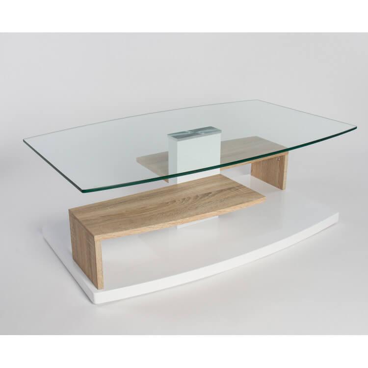 table basse design verre et bois blanc laque chene sable lynette