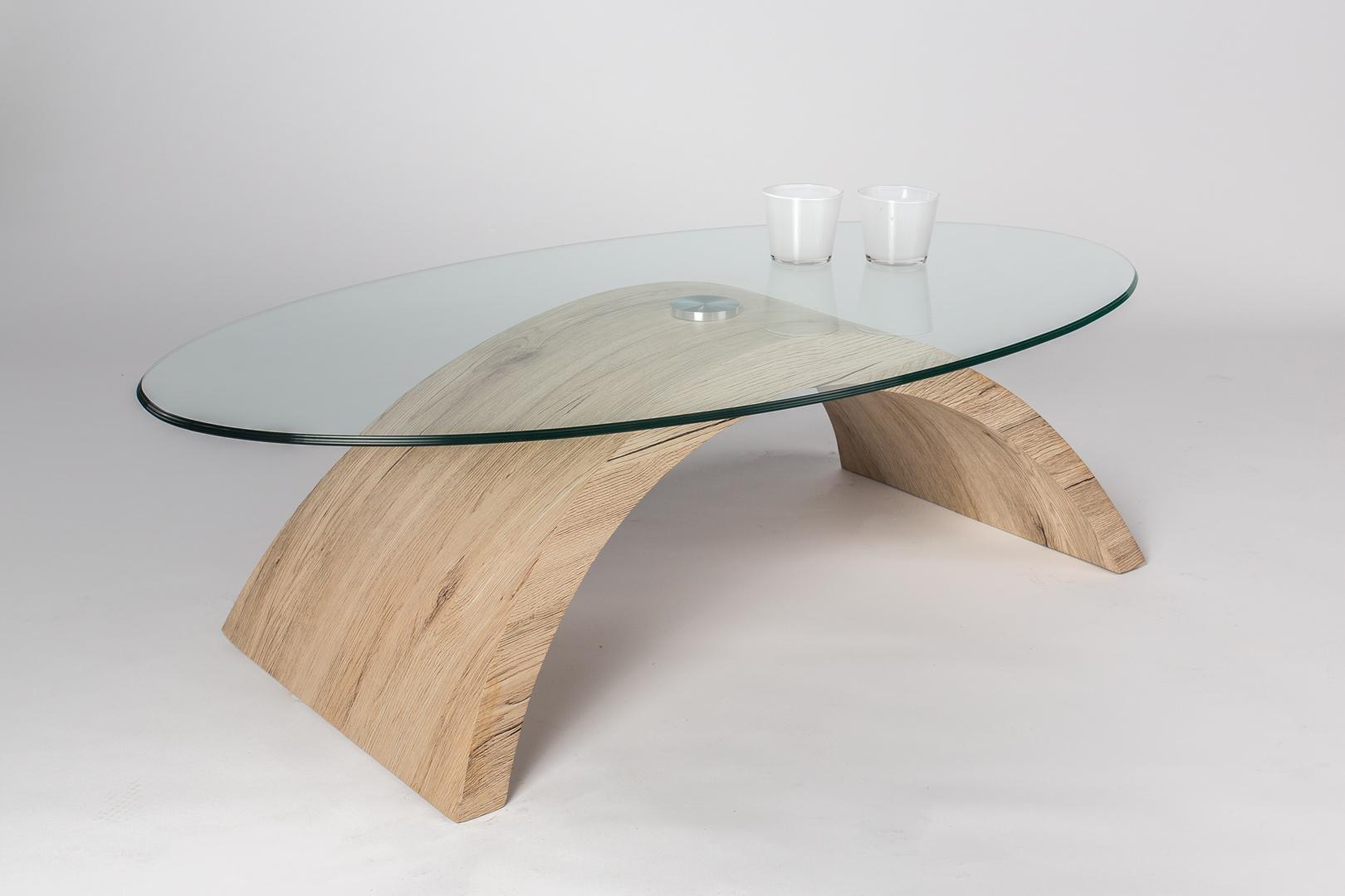 table basse design en verre et bois chene sable victorine