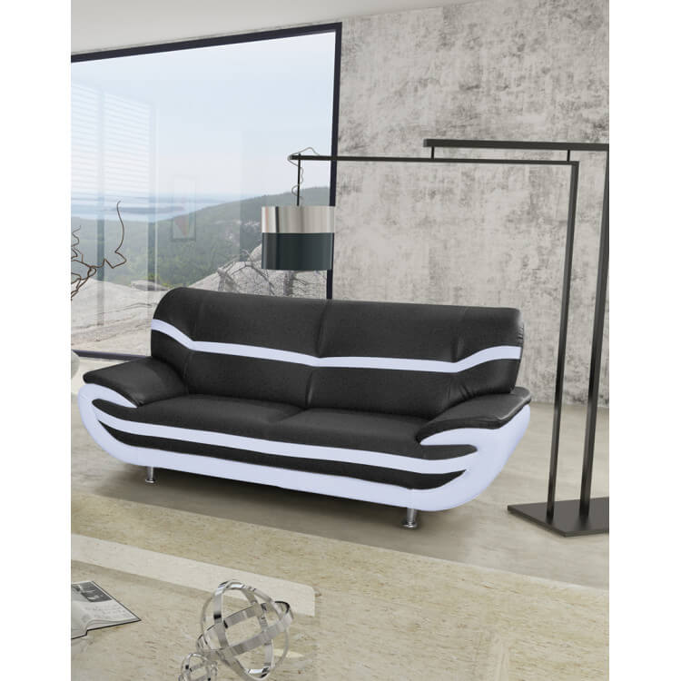 canape fixe design 3 places en pu noir blanc adelice