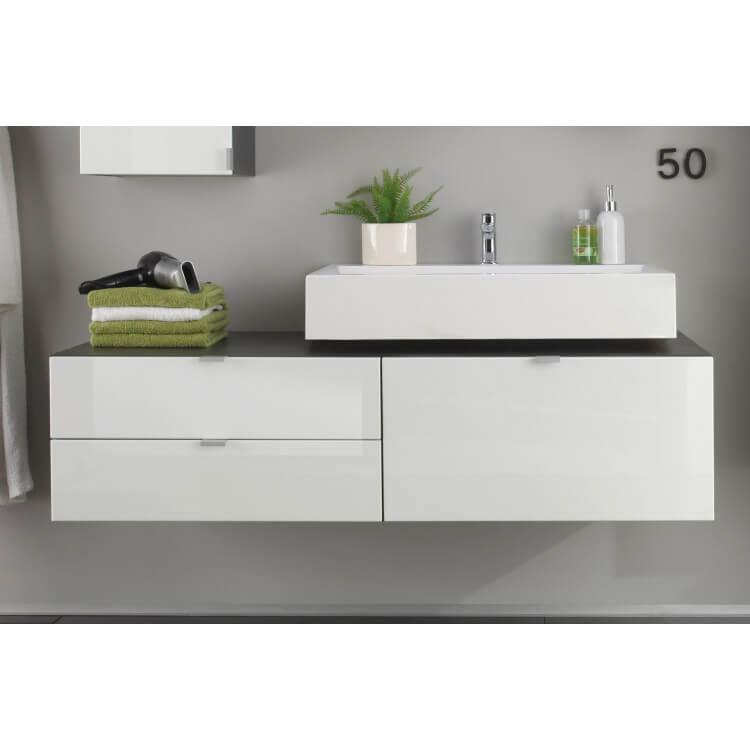 meuble sous lavabo suspendu design gris blanc laque messine